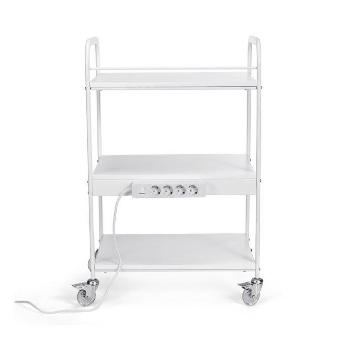 chariot eshtétique blanc avec prises électriques