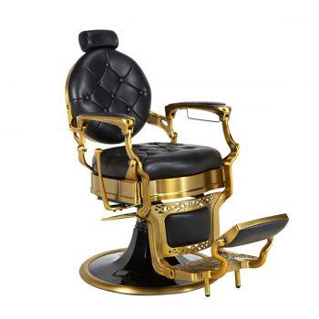 fauteuil barbier vintage noir et or mate