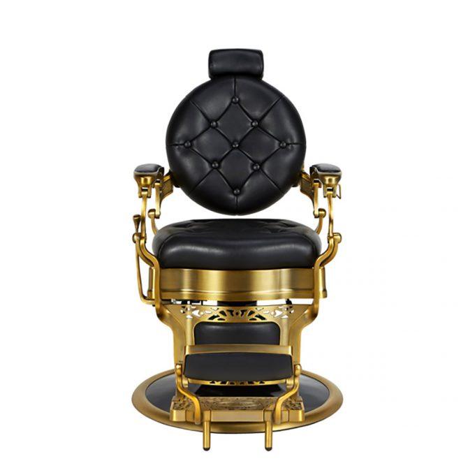 fauteuil de barbier noir et doré
