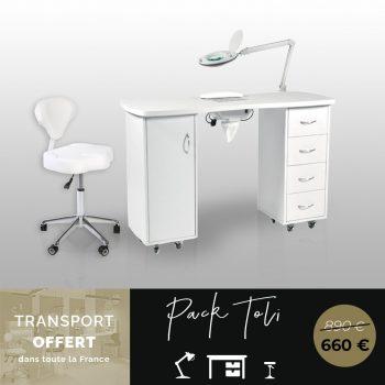 pack esthétique, table manucure aspirateur, chaise à roulettes, lampe de table loupe dioptries 5