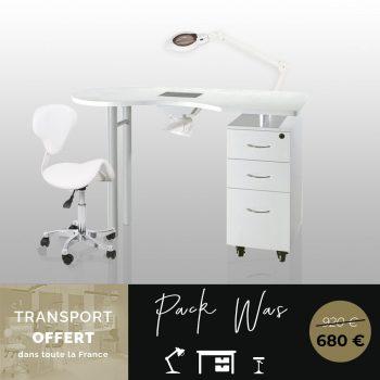 ensemble mobiliers manucure, table avec aspirtateur, lampe dioptrie 3/8, tabouret à roulettes