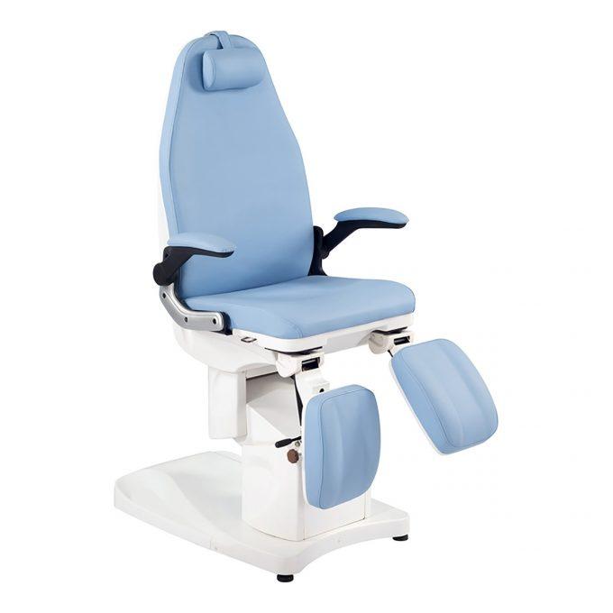 fauteuil de pédicure bleu avec moteurs pour réglages