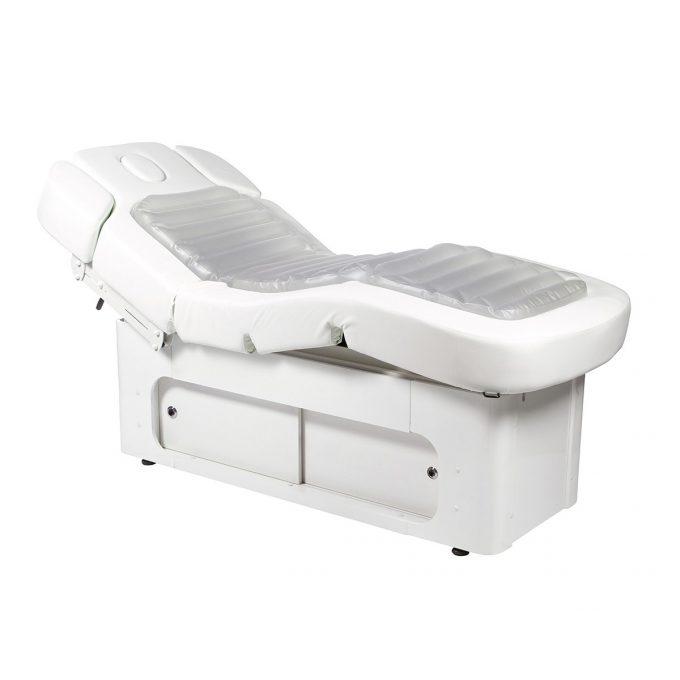 lit de massage spa à coussin d'eau qui change de couleur, bleu ou rose ou sans éclairage, fonction chauffage et réglages de positions