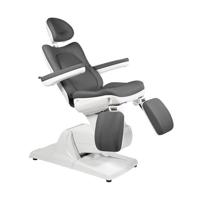 fauteuil de pédicure noir avec accoudoirs et reposes pieds