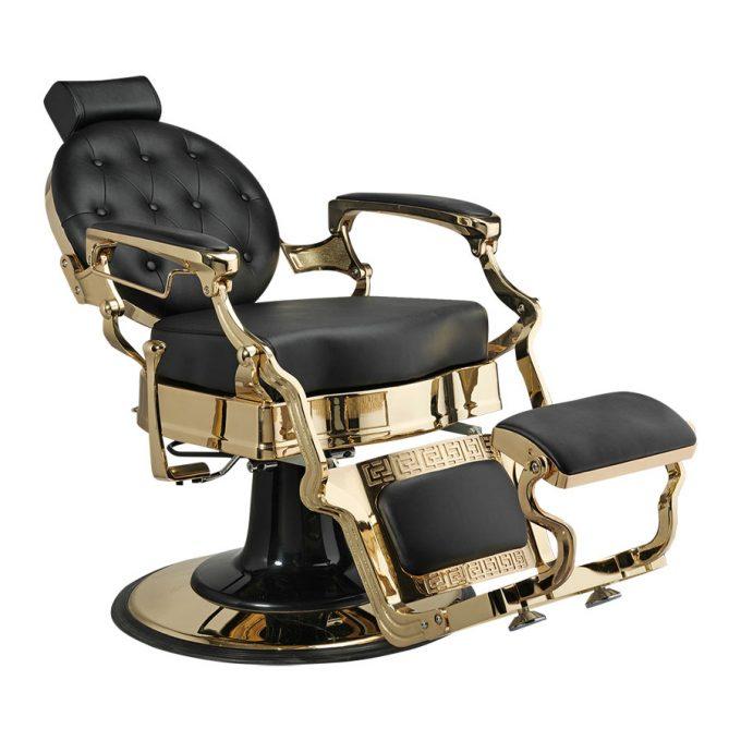 siège de coiffure homme et barbier en similicuir noir et structure en métal or inclinable en arrière
