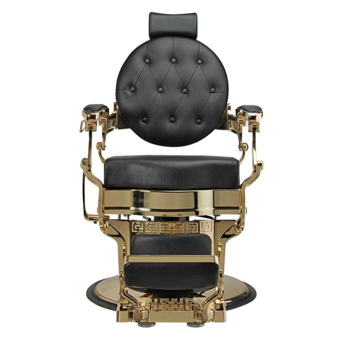 siège de coiffure homme et barbier en similicuir noir et structure en métal doré style rétro