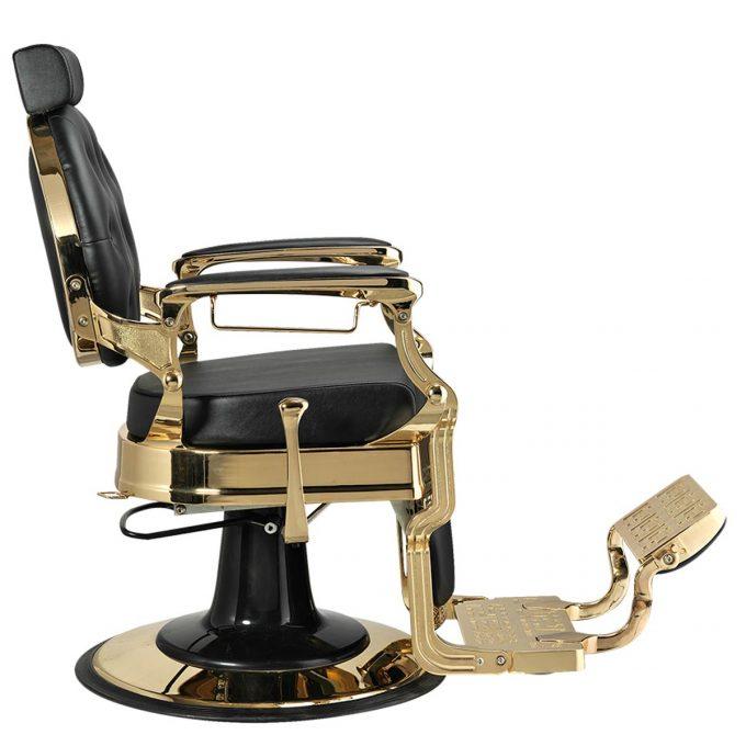 siège de coiffure homme et barbier en similicuir noir et structure en métal doré vue de côté