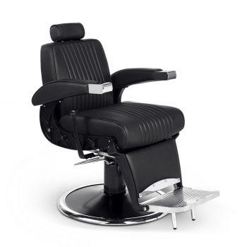 siège de barbier métal noir chromé et similicuir moderne et vintage