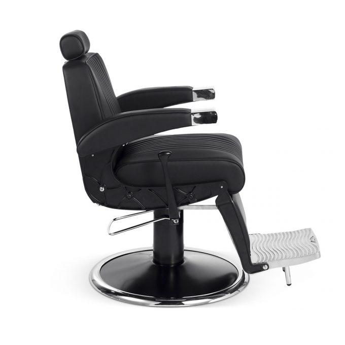 siège de barbier métal noir chromé et similicuir moderne et vintage side