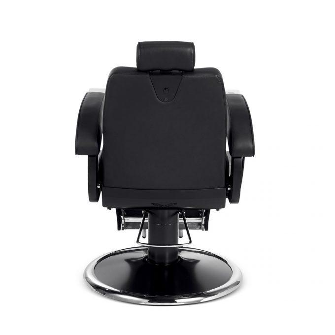 siège de barbier métal noir chromé et similicuir moderne et vintage dos