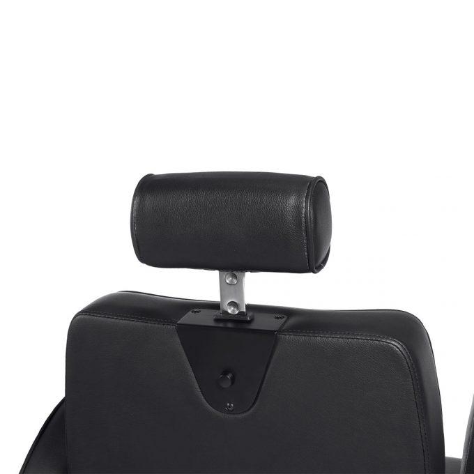 siège de barbier métal noir chromé et similicuir moderne et vintage appuie tête