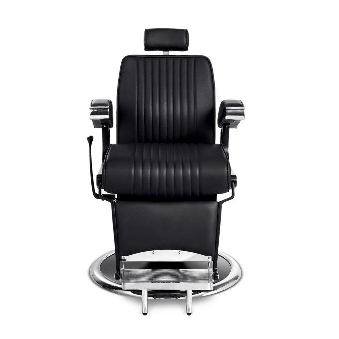 siège de barbier métal noir chromé et similicuir moderne et vintage face