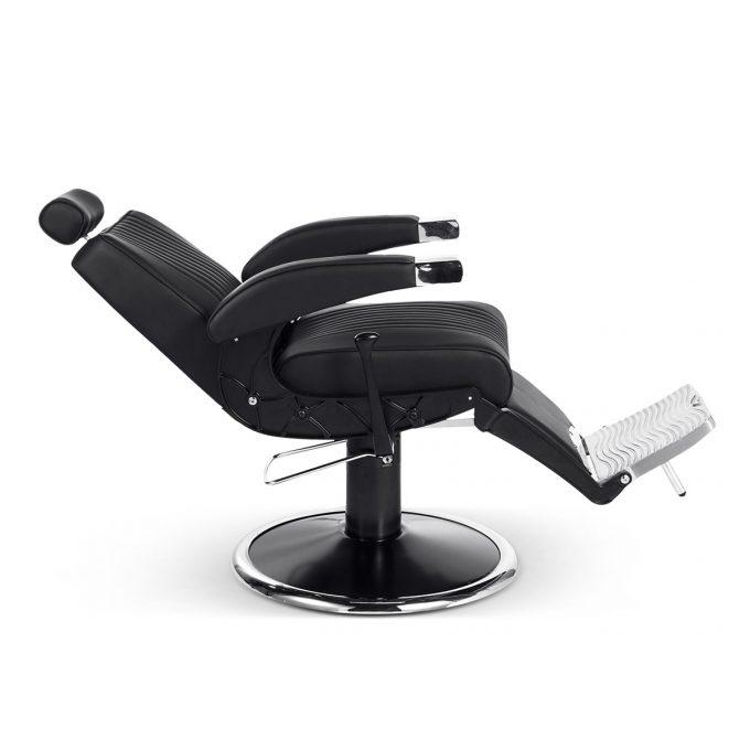 siège de barbier métal noir chromé et similicuir moderne et vintage inclinable