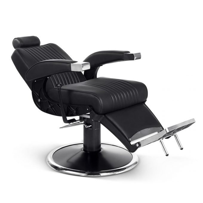 siège de barbier métal noir chromé et similicuir moderne et vintage position allongé