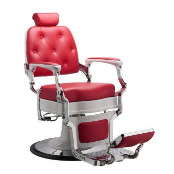 siège de barbier pour salon de coiffure avec repose tête et pieds finition blanc laquée et rouge carmin
