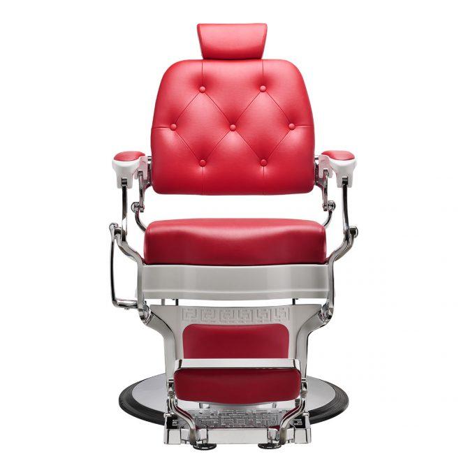 fauteuil de barbier rouge vermeil et blanc laqué style rétro