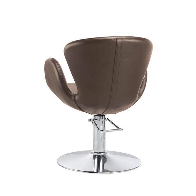 fauteuil de coiffure Cora marron chocolat avec pied rond plat en métal