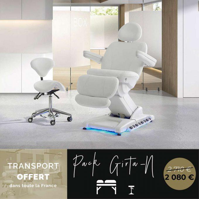 ensemble pour institut de beauté, un fauteuil esthétique électrique led et un tabouret avec dossier