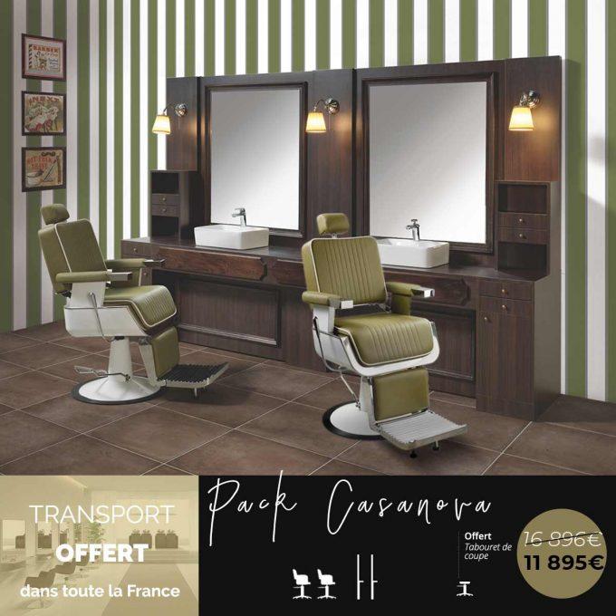 pack fauteuils et meubles de barbier vintage kaki et bois ancien