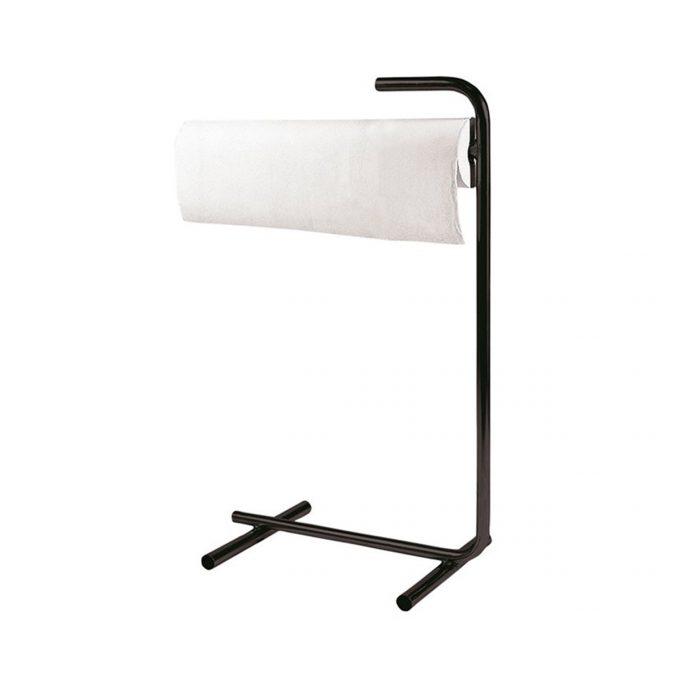 Porte rouleau pour table de massage et examen sur pied en métal noir