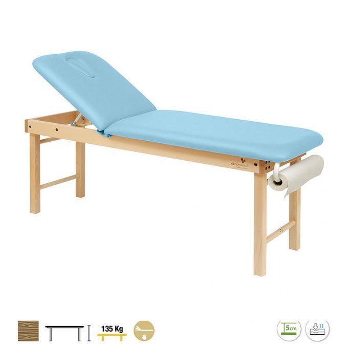 table de massage ecopostural bleue structure en bois