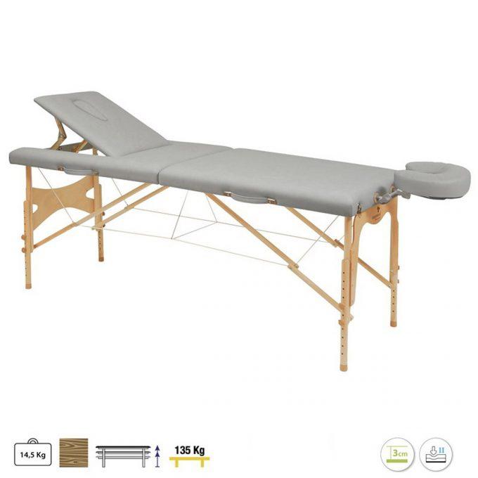 table pliante de massage en bois et matelas en vinyle résistant gris