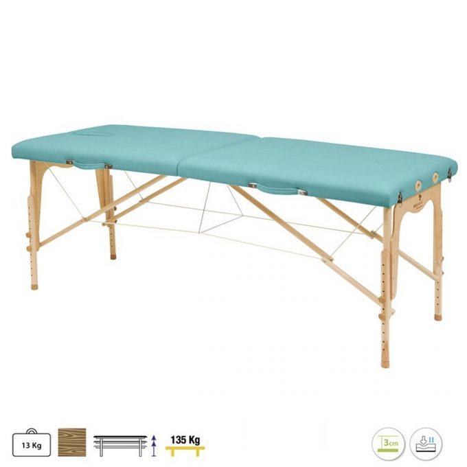 table de massage pliante en bois, reiki, kiné, examen, massage