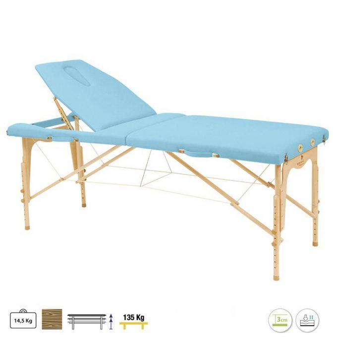 table de massage ecopostural C3214 pliante en bois bleu ciel
