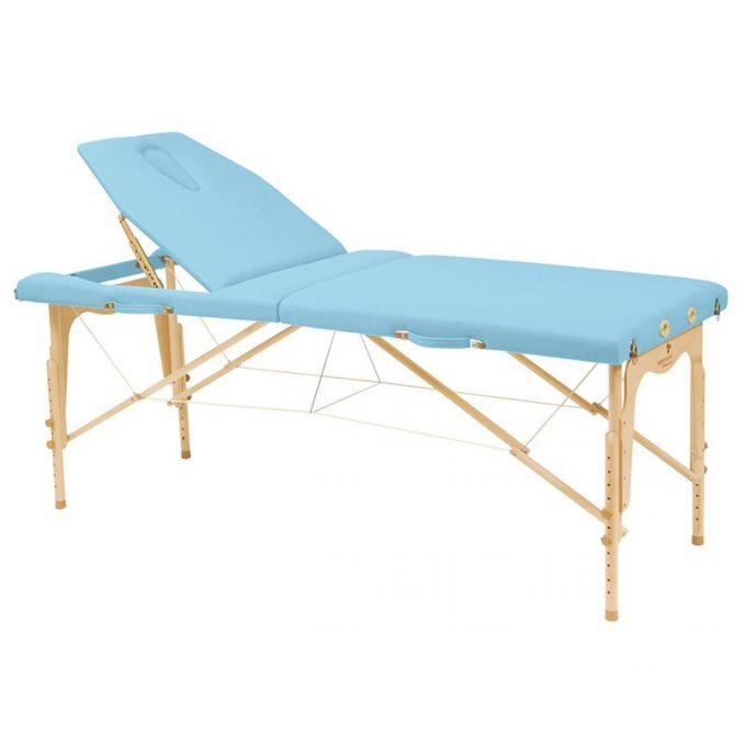 table de massage ecopostural en bois pliante avec hauteur et dossier réglables