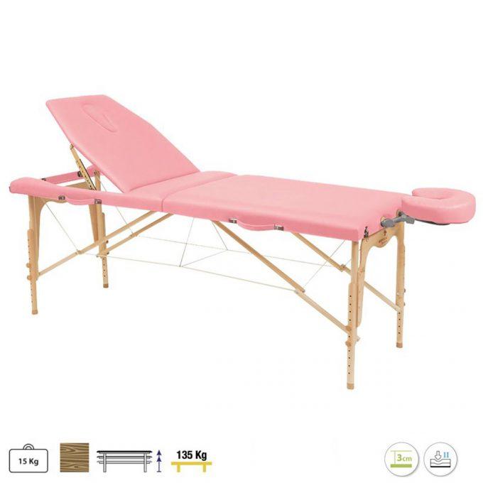 table de massage avec têtière à cavité faciale, pliable et transportable