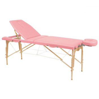 table de massage Ecopostural en bois pliante avec revêtement en vinyle résistant rose