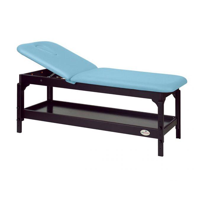 table de massage Ecopostural en Wengé avec rangement et dossier inclinable