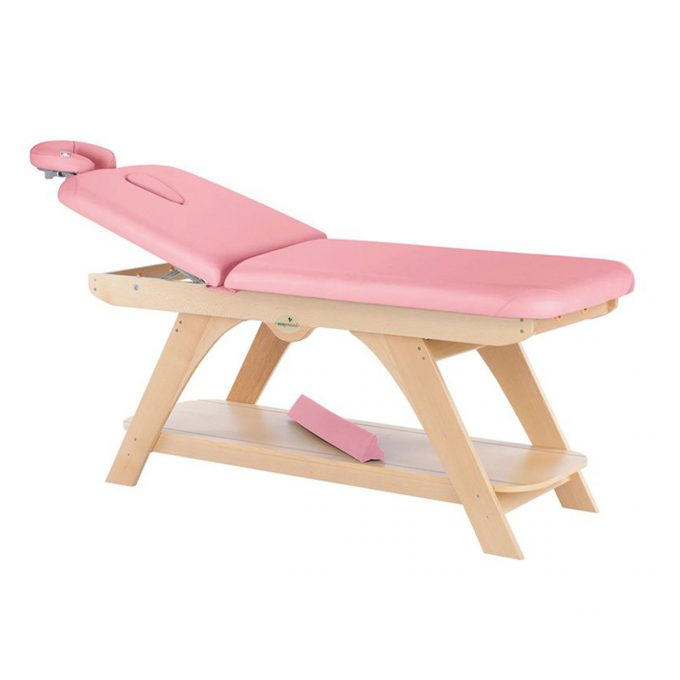 table de massage rose Ecopostural avec structure en bois naturel, coussin dorsal, 2 plans