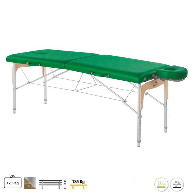 table ecopostural de massage vert bouteille en aluminium et panneau Reiki