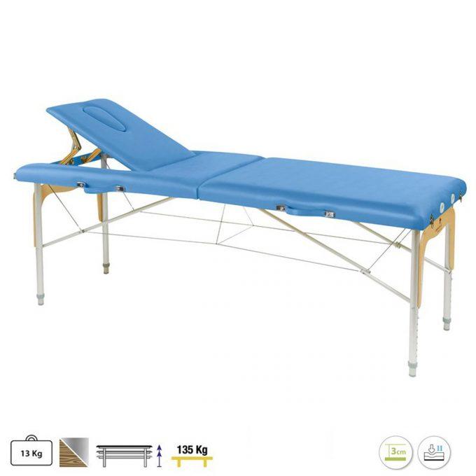 table de massage ecopostural en aluminium avec panneau bois reiki