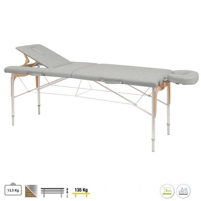 table de massage grise ecopostural pliante avec panneau Reiki et dossier relevable