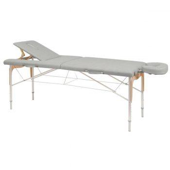 table de massage ecopostural grise pliante et réglable en hauteur avec extension amovible