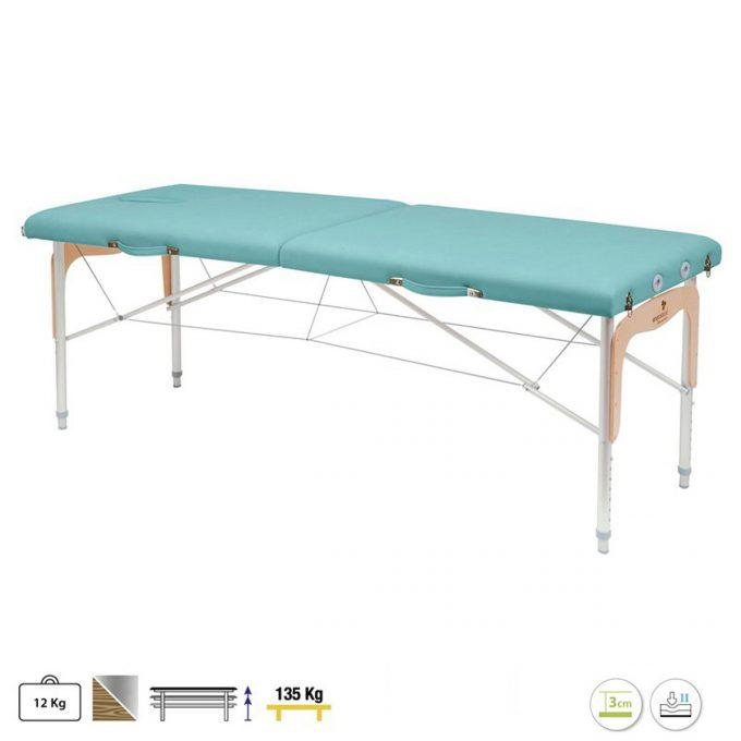 table de massage pliable avec panneau bois pour reiki, ecopostural, couleur bleu clair