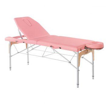 table de massage ecopostural rose pliante en aluminium et bois avec têtière à cavité