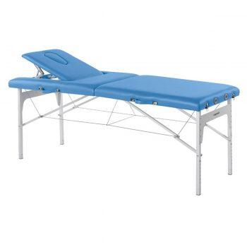 table de massage pliante pour transport bleue avec pieds en aluminium