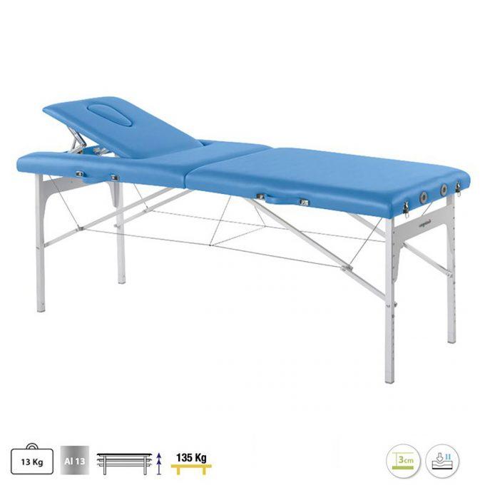 table de massage 2 plans en aluminium pliante
