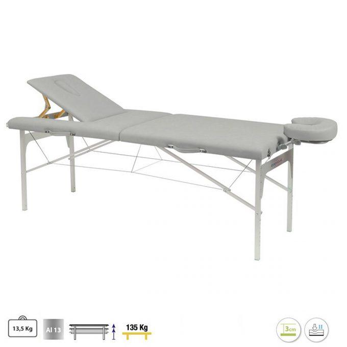 table de massage 2 plans pliante grise ecopostural