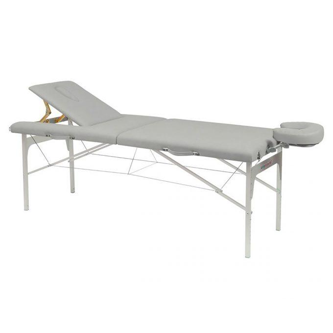 table de masssage ecopostural grise avec structure en aluminium pliante et réglable en hauteur