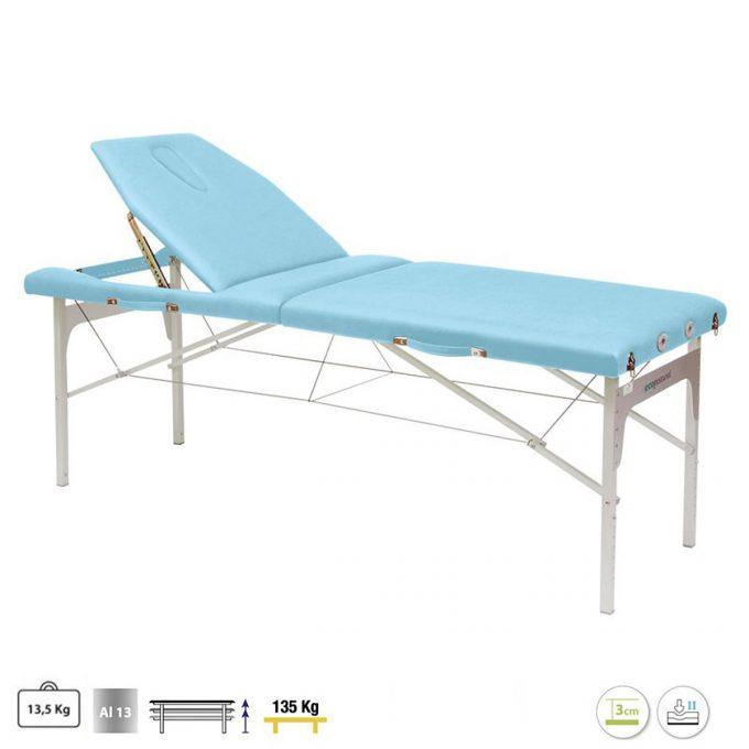 table de massage ecopostural légère en aluminium et matelas en pvc bleu ciel