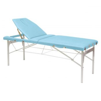 table de massage bleu ciel pliante avec pieds et structure en aluminium légère