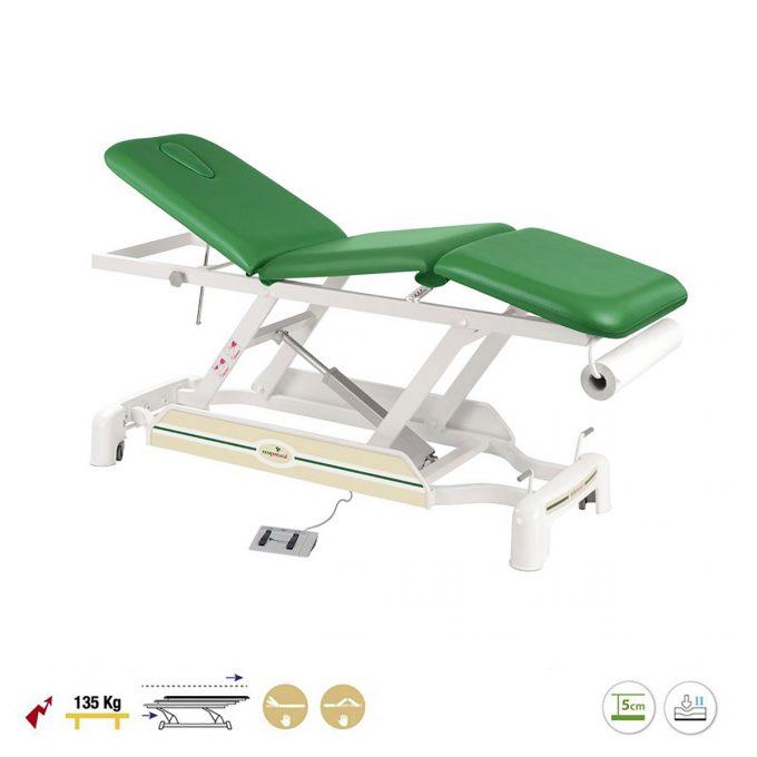 table Ecopostural verte de massage 3 plans avec moteur pour régler la hauteur, dossier et assise inclinable