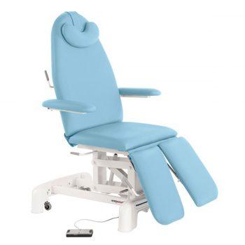 fauteuil de pédicure bleu ciel avec commande au pied Ecopostural
