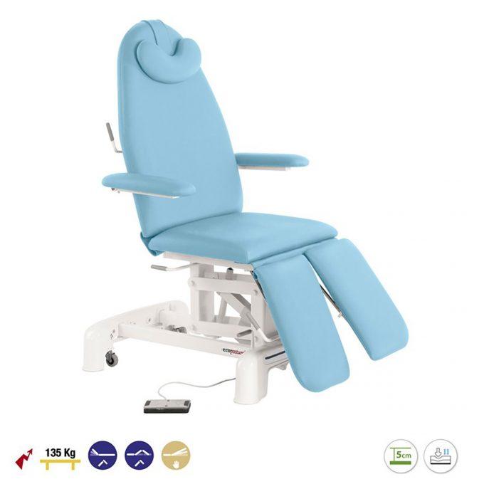 fauteuil électrique de pédicure bleu ciel avec plateau pieds séparé
