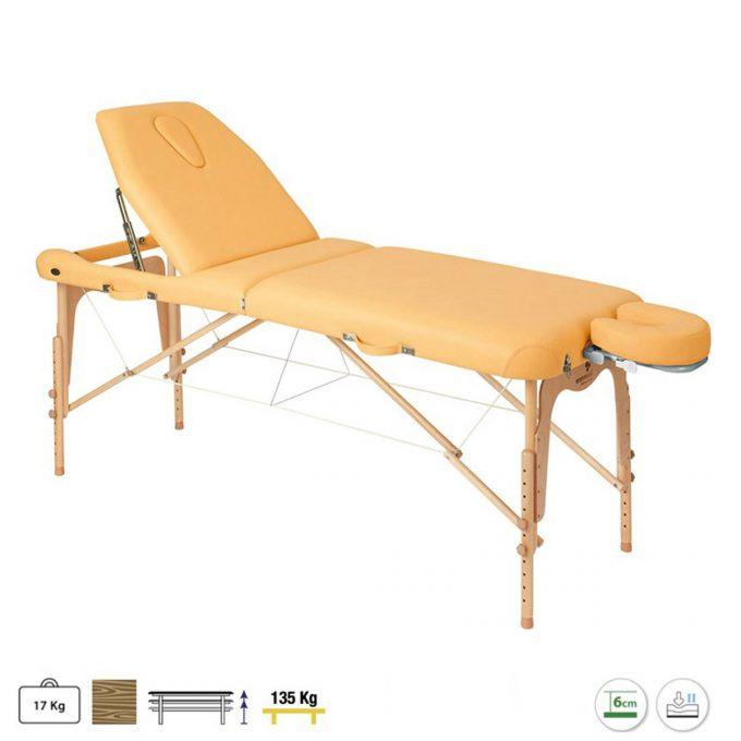 table de massage ecopostural pliante couleur clémentine réglable en hauteur, matelas épais 6 cm