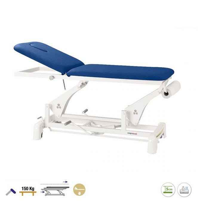 Table de massage 2 plans à bielle, réglage hydraulique, bleu